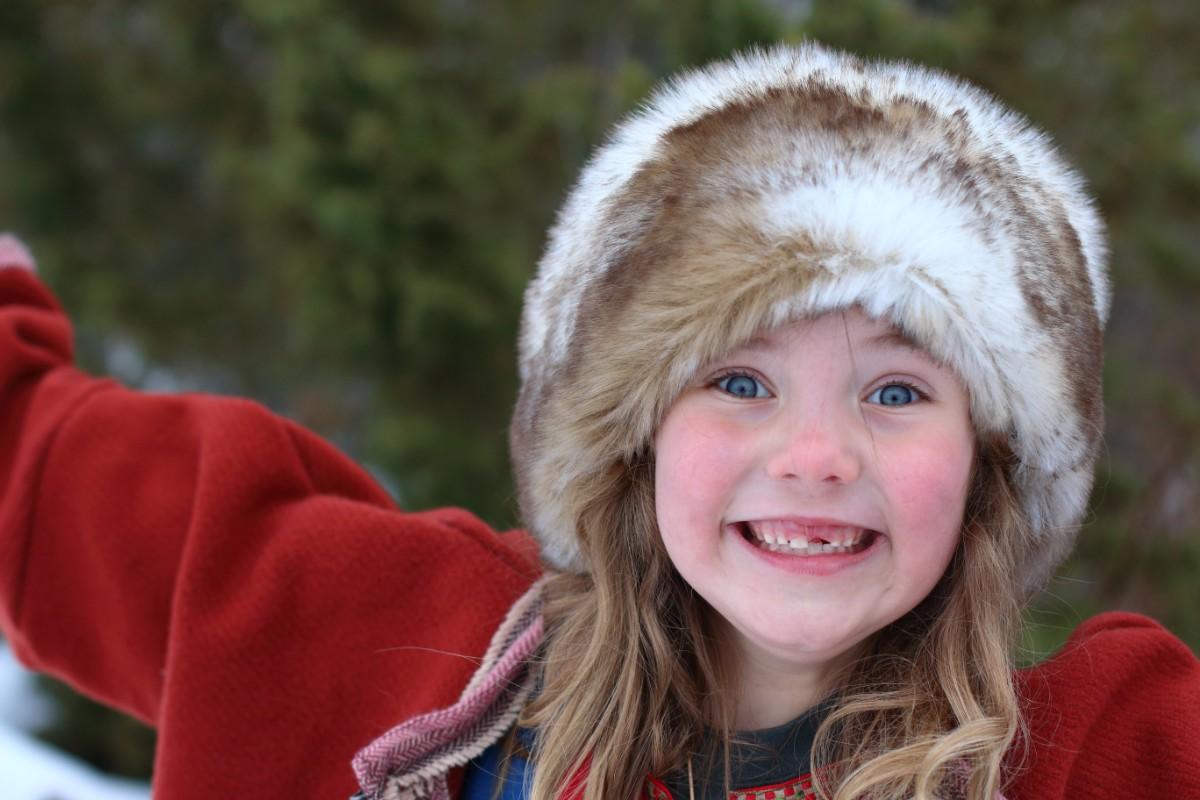 Photo of happy viking child.