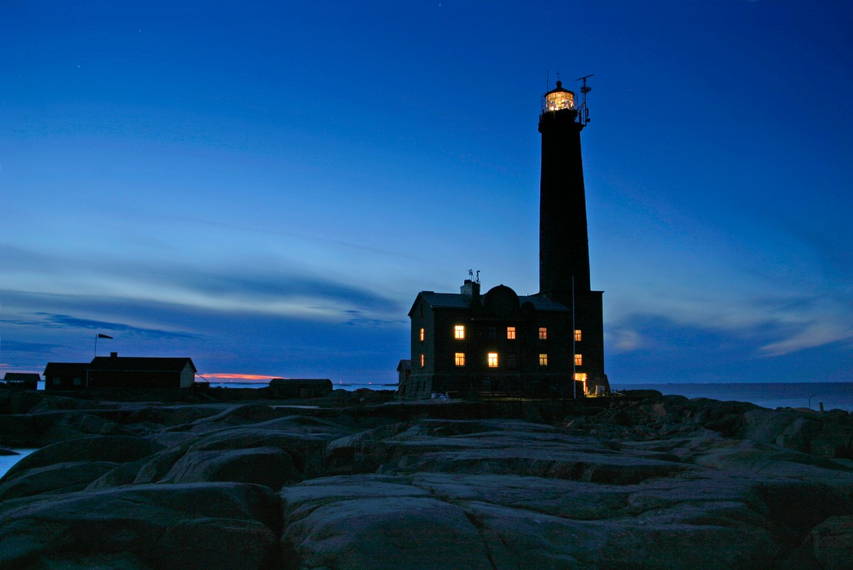Photo of the lighthouse at night.